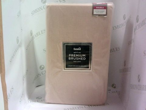 Lot 1006 DUNELM SOFT & EASY PREMIUM BRUSHED 100% COTTON DOUBLE FITTED SHEET - BLUSH PINK - 25CM DEEP