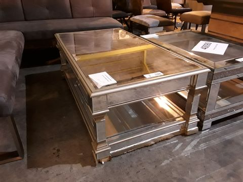 Lot 3 DESIGNER MIRRORED LARGE RECTANGULAR COFFEE TABLE ON SQUARE COLUMN SUPPORTS