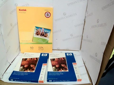 Lot 10549 LOT OF 3 ASSORTED PACKS OF PHOTO PAPER TO INCLUDE HP AND KODAK