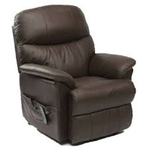 Lot 570 BOXED DUAL RISE BROWN LEATHER RECLINING EASY CHAIR (2 BOXES)