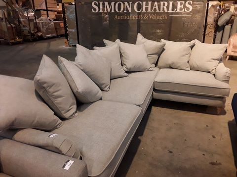 Lot 5056 QUALITY BRITISH DESIGNER ROCHESTER GREY FABRIC PERIOD STYLE CORNER GROUP WITH SCATTER CUSHIONS