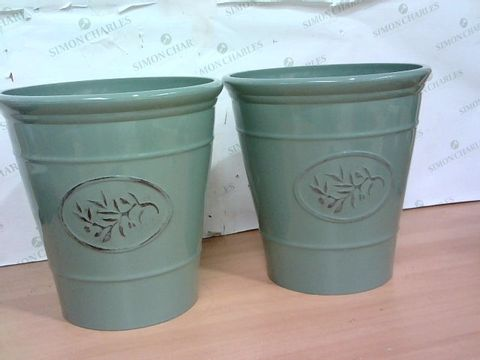 Lot 1358 PAIR OF OLIVE GREEN 30CM PLANTERS RRP £28.99