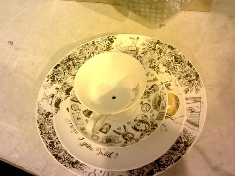 Lot 12072 VICTORIA AND ALBERT ALICE IN WONDERLAND CHINA 3 TIER TEA CUP CAKE STAND