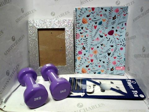 Lot 7654 LOT OF APPROXIMATELY 20 ASSORTED HOUSEHOLD ITEMS, TO INCLUDE SILVINE NOTEBOOK, DESIGNER GLITTER PICTURE FRAME, FINGER TEN GOLF GLOVES, ETC