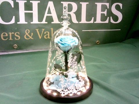 Lot 1039 LIGHT-UP BLUE ROSE IN GLASS CASE