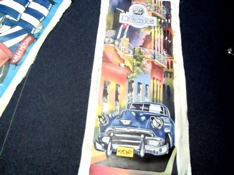 Lot 45 LOT OF 3 CUBAN THEMED ART PIECES ON CANVAS