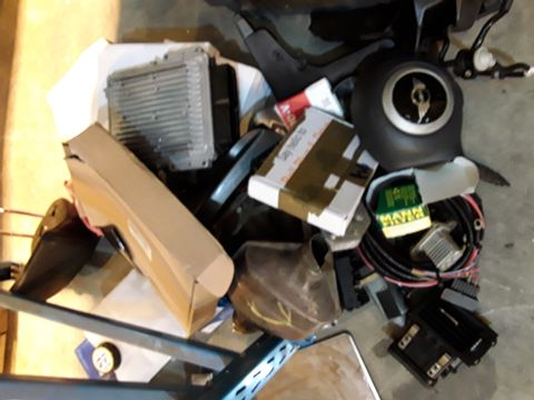 Lot 57 ASSORTED NEW & USED VEHICLE PARTS, INCLUDING, MINI STEERING WHEEL AIR BAG, OIL FILTERS, ECU UNIT, CATALYST, FILTERS, FAN BELTS,