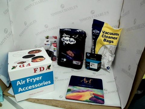 Lot 10518 BOX OF A SIGNIFICANT QUANTITY OF ASSORTED HOUSEHOLD ITEMS TO INCLUDE LIBERO SLEEP TIGHT PACK, ELECTRUEPART VACUUM CLEANER BAG SET, ART STUDIO WATERCOLOUT PENCIL SET ETC