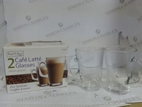Lot 902 FIG & OLIVE 2X CAFE LATTE GLASSES - 240ML GLASSES