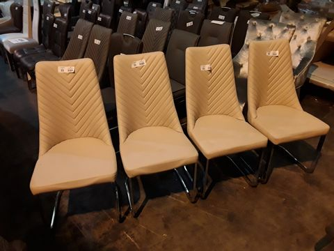 Lot 23 SET OF FOUR DESIGNER CREAM FAUX LEATHER CHEVRON BACKED DINING CHAIRS ON CHROME SUPPORTS
