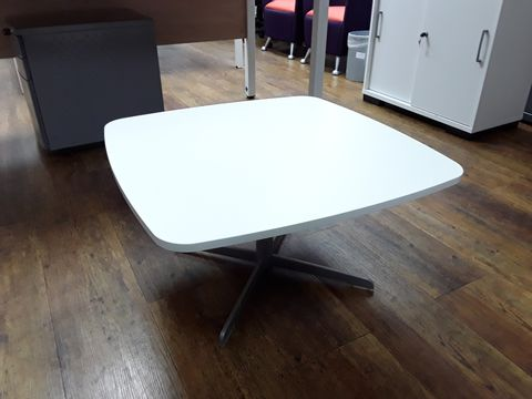 Lot 11 WHITE WOODEN COFFEE TABLE WITH METAL FRAME