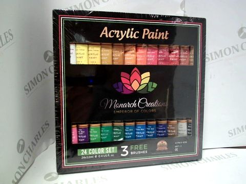 Lot 17360 NEW AND SEALED MONARCH CREATIONS 24PC ACRYLIC PAINT