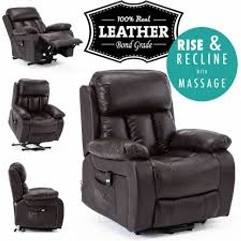 Lot 575 BOXED CHESTER BROWN LEATHER POWERED RISE & RECLINER CHAIR (2 BOXES)