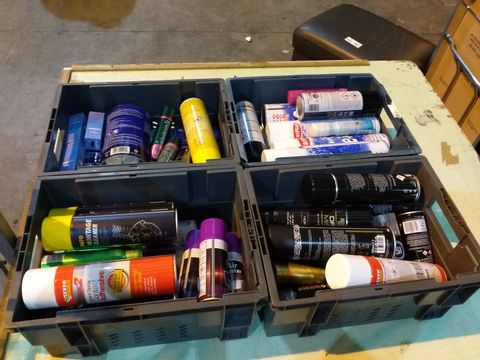 Lot 11 4 TRAYS OF ASSORTED AEROSOLS TO INCLUDE: INSTANT SPRAY CONTACT ADHESIVE, AIR DUSTER, DE-ICER ETC