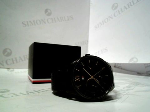 Lot 4167 TOMMY HILFIGER BLACK AND GOLD DETAIL MULTI DIAL BLACK IP STAINLESS STEEL MESH STRAP WATCH RRP £235.00