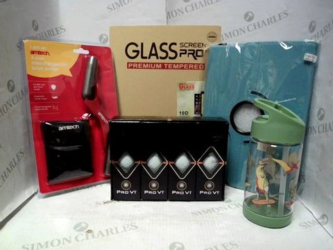 Lot 7643 LOT OF A LARGE QUANTITY OF ASSORTED HOUSEHOLD ITEMS, TO INCLUDE CATH KIDSTON KIDS DINOSAUR WATER BOTTLE, UNIPHA GLASS SCREEN PRO+ PROTECTOR, TITLEIST PRO V1 GOLF BALLS (12), ETC