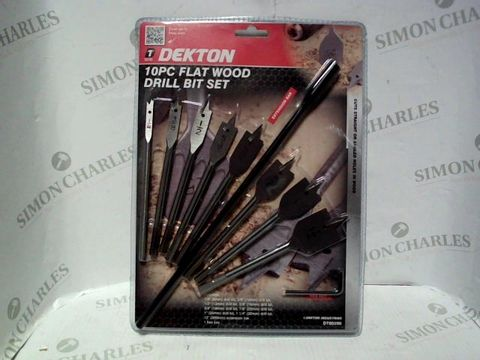 Lot 7674 DEKTON 10PC FLAT WOOD DRILL BIT SET