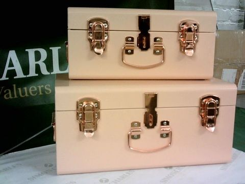 Lot 8174 BUNDLEBERRY BY AMANDA HOLDEN SET OF 2 PINK MINI TRUNKS WITH ROSE GOLD FITTINGS