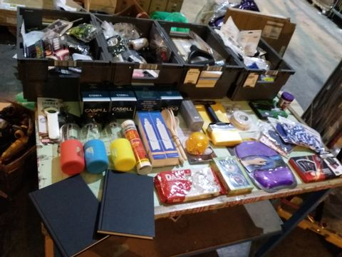 Lot 38 FOUR TRAYS OF ASSORTED ITEMS TO INCLUDE: THOTH TAROT DECK, MODELLING CLAY, PASTE BRUSHZ HEAT RESISTANT SEALANT, CREDIT CARD WALLET ETC