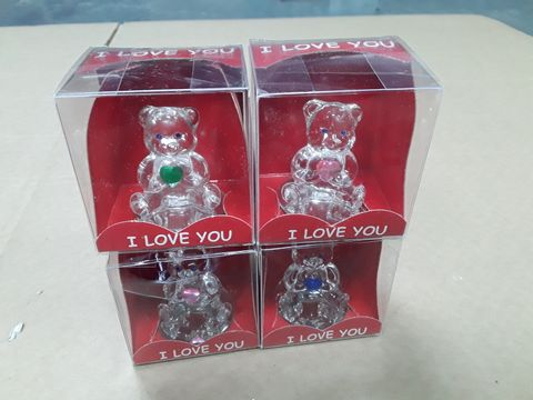 Lot 3071 LOVE OF 4 ASSORTED I LOVE YOU CRYSTAL EFFECT BEAR ORNAMENTS