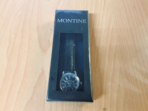 Lot 8352 BOXED AND SEALED MONTINE BLACK DIAL LADIES WATCH WITH LEATHER STRAP