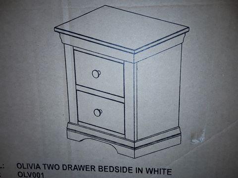 Lot 4033 BOXED DESIGNER WHITE OLIVIA TWO DRAWER BEDSIDE