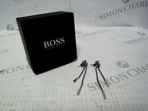 Lot 4330 BOSS ROSETTE STAINLESS STEEL MESH LONG KNOT EARRINGS RRP £65.00