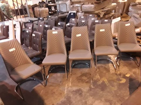 Lot 21 SET OF FIVE DESIGNER GREY FAUX LEATHER UPHOLSTERED CHEVRON BACKED DINING CHAIRS