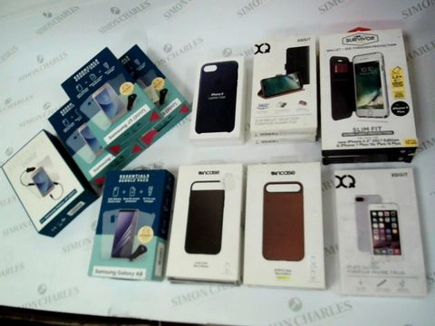 Lot 57 BOX OF 16 ASSORTED BRAND NEW ITEMS TO INCLUDE: ESSENTIALS BUNDLES FOR SAMSUNG J3, ESSENTIAL BUNDLE FOR SAMSUNG GALAXY A8, IPHONE 8 LEATHER CASES, XQISIT SLIM WALLETS FOR HUAWEI P20 ETC