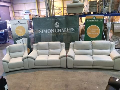 Lot 1991 QUALITY ITALIAN CREAM LEATHER UPHOLSTERED THREE SEATER POWER RECLINING SOFA, FIXED TWO SEATER SOFA AND ARMCHAIR