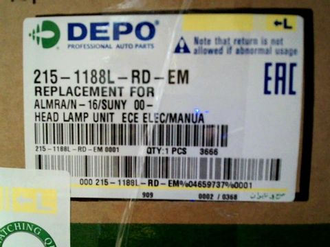 Lot 4017 HEADLAMP/LIGHT REPLACEMENT - DEPO 215-1188L-LD-EM