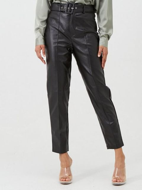 Lot 1879 BRAND NEW MISSGUIDED FAUX LEATHER BELTED SEAM DETAIL CIGARETTE TROUSER - BLACK SIZE 12