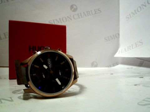Lot 4168 HUGO CHASE BLACK CHRONOGRAPH DIAL BROWN LEATHER STRAP WATCH  RRP £227.00