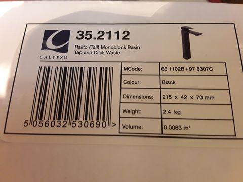 Lot 10667 BOXED CALYPSO RIALTO TALL MONOBLOCK BASIN TAP & CLICK WASTE BLACK