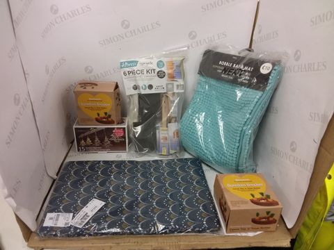 Lot 12939 BOX OF A SIGNIFICANT QUANTITY OF ASSORTED HOUSEHOLD ITEMS TO INCLUDE HARRIS UPCYCLE KIT, NEXT BOBBLE BATH MAT, AURAGLOW BATTERY OPERATED STRING LIGHTS ETC