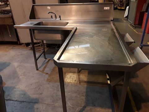 Lot 501 L SHAPED SINGLE BOWL SINK UNIT WITH SPLASHBACK, MIXER TAP & 2 FOOD WASTE SHUTES