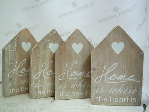 Lot 227 BOX OF 4 HOME IS WHERE THE HEART IS WOODEN DECOR