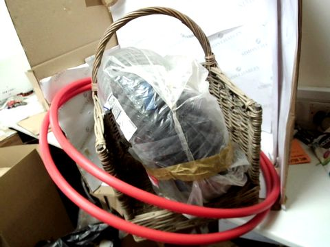 Lot 10338 LOT OF 4 HOME ITEMS TO INCLUDE GREY WOOD WICKER BASKET, 2X RED HULA HOOPS AND LARGE DIAMETER PLASTIC PIPING