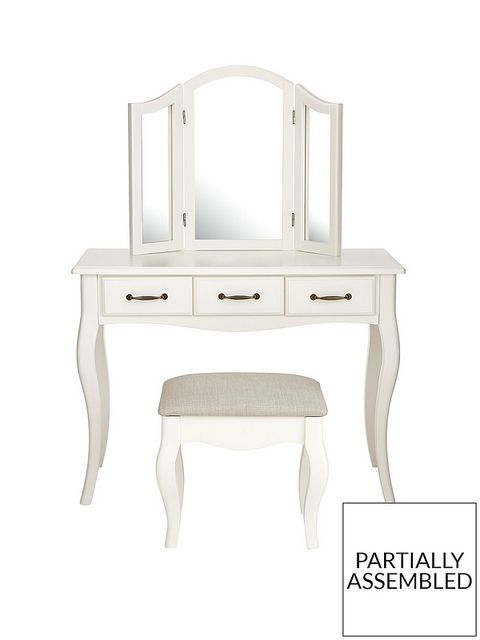 Lot 77 BOXED OLIVIA WHITE DRESSING TABLE, MIRROR AND STOOL (1 BOX) RRP £299.85