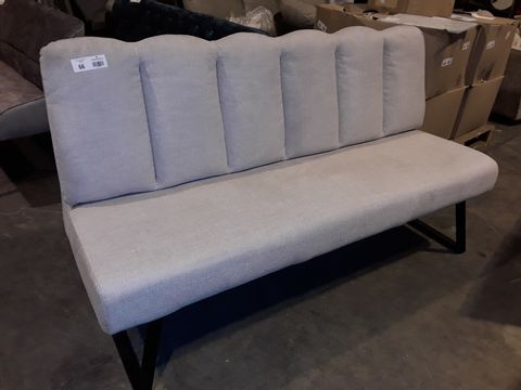 Lot 66 DESIGNER NATURAL FABRIC THREE SEATER SOFA/BENCH