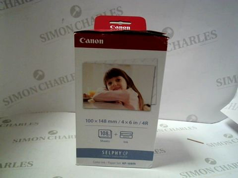 Lot 7623 CANON SELPHY CP COLOUR INK/PAER SET FOR 108 PRINTS