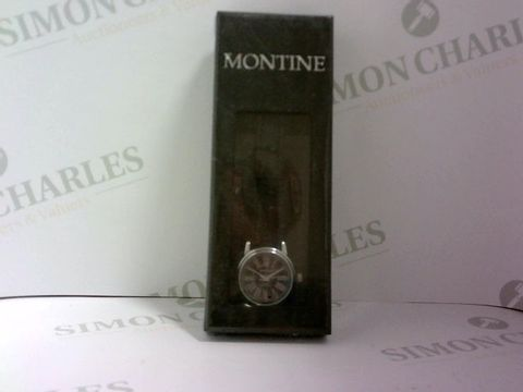 Lot 1050 BRAND NEW BOXED DESIGNER MONTINE BLACK LEATHER LOOK STRAP WATCH