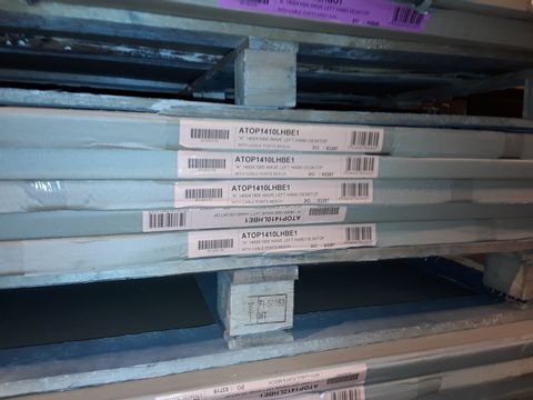 Lot 5094 LOT OF 5 BRAND NEW 1400X1000MM WAVE LEFT HAND DESKTOPS WITH CABLE PORTS - BEECH