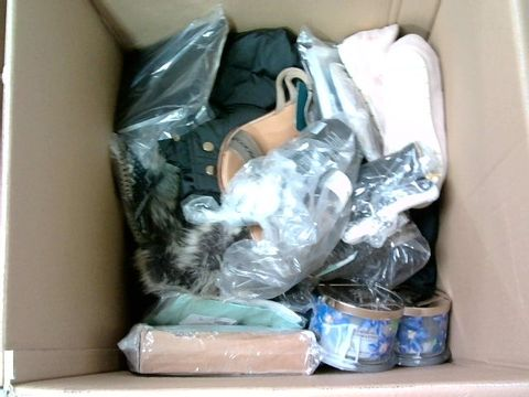 Lot 3323 BOX OF LARGE QUANTITY OF ASSORTED RETURNED STOCK TO INCLUDE SHOES, CANDLES, JACKET ETC.