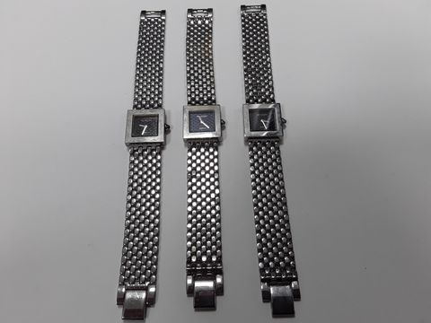 Lot 3081 LOT OF 3 SQUARE BODIED SHAON FASHION WATCHES