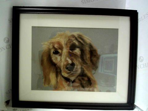 Lot 28 FRAMED ARTWORK OF DOG