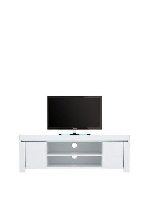 Lot 7445 BOXED ATLANTIC BLACK CORNER TV UNIT WITH LED LIGHTING (1 BOX)