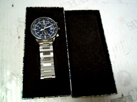 Lot 75 DESIGNER BLUE DIAL, METAL STRAO WRISWATCH