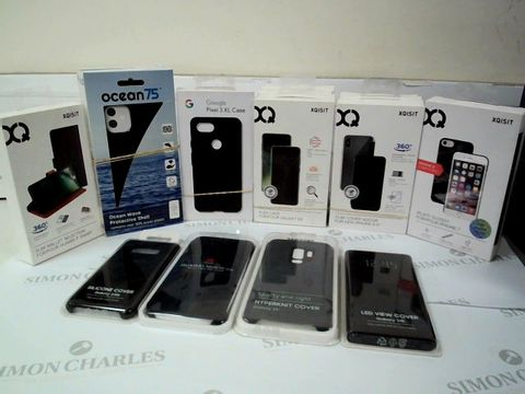 """Lot 2606 BOX OF 20 ASSORTED BRAND NEW PHONE CASES TO INCLUDE: SAMSUNG GALAXY S10E SILICONE COVER, XQISIT IPLATE GLOSSY FOR IPHONE 7, 3 X XQISIT FLAP COVER FOR IPHONE 6.5"""", 4 X XQISIT FLEX CASE FOR GALAXY S9"""