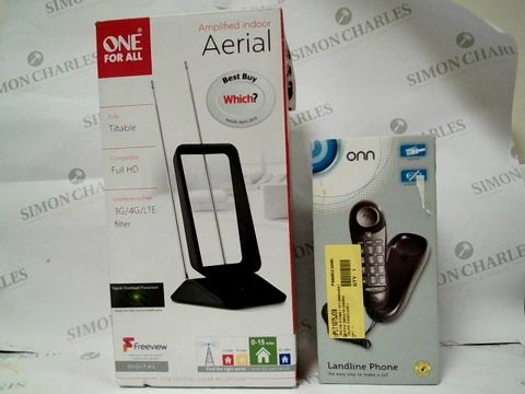 Lot 1026 A SMALL BOX CONTAINING AMPLIFIED INDOOR AERIAL, ONN LANDLINE PHONE AND BLACKWEB USB - C CABLE